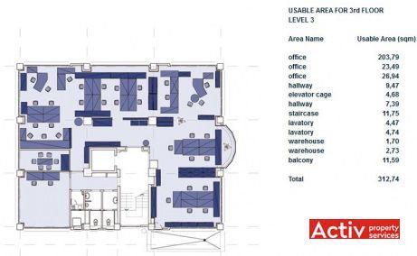 CASA STEGA spațiu de birouri nord metrou AVIATORILOR plan etaj