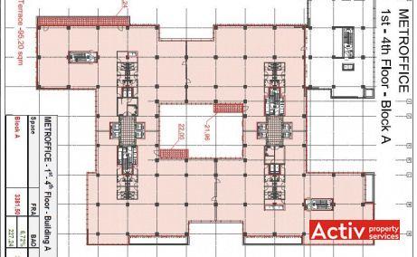 METROFFICE închiriere spațiu birou București zona nord plan etaj