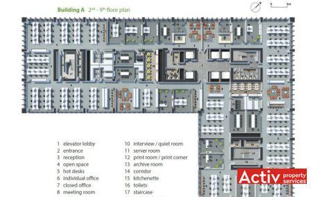 Business Garden Bucharest închirieri spații de birouri Grozăvești clădire A plan