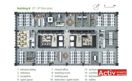 Business Garden Bucharest închiriere birouri centru clădire B plan
