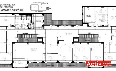 Primaverii Plaza închirieri spații birouri nord Piața Charles de Gaulle plan clădire