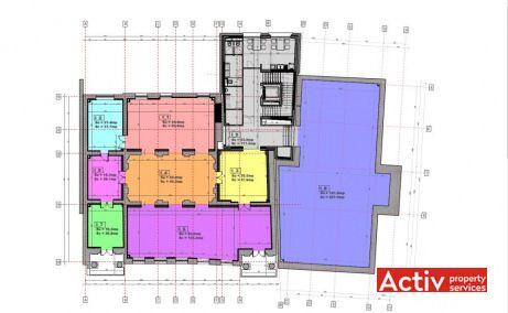Dionisie Lupu 70-72 spații birouri București Lahovari plan clădire