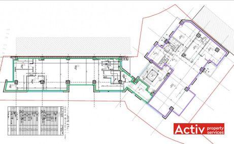 Ceasornicului 17 spații birouri nord parc Herăstrău plan clădire
