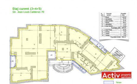 Jean Louis Calderon 70 spații birouri Grădina Icoanei plan