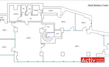 Dacia Business Center spații de birouri mici zonă centrală Eminescu plan etaj