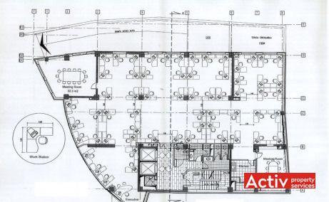 Jupiter House închiriere birouri centru metrou Piața Romană plan clădire