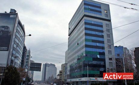 Cube Offices Victoriei perspectivă dinspre strada Buzești, oferă spații birouri zonă centrală în zona Piața Victorie