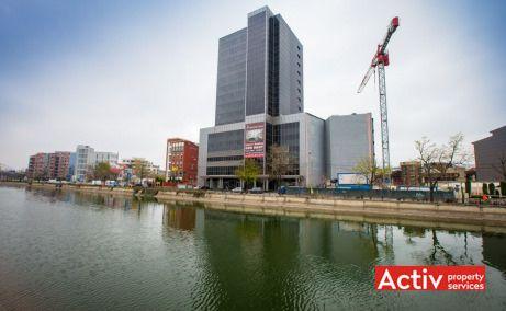 Riverside Tower perspectivă dinspre Regie, oferă spații birouri mici în zona Grozăvești