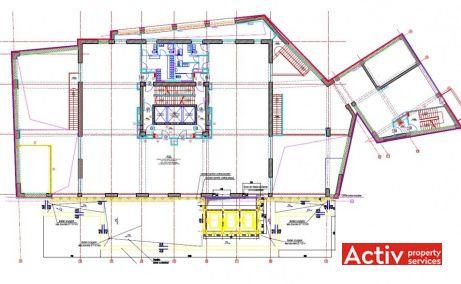 Riverside Tower plan clădire, închirieri spații de birouri București Complexul Regie în zona Grozăvești