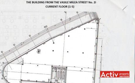 Ayash Center plan clădire - spații birouri metrou Grozăvești, Vasile Milea București