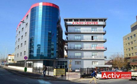 Închirieri birouri ieftine București lângă metrou Grozăvești în complexul Ayash Center, vedere stradală