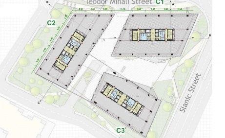 United Business Center Riviera plan clădire nivele inferioare, inchrieri spaţii birouri Cluj Napoca centru comercial Iulius Mall