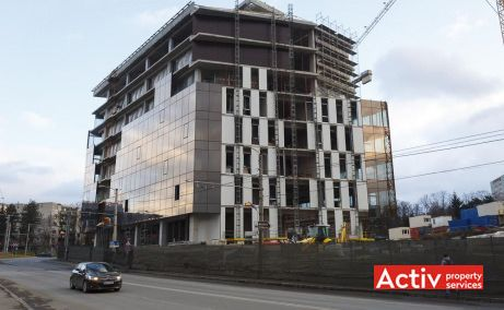 United Business Center Riviera vedere stradală de pe Aleea Slănic în Cluj-Napoca - oferă spații de birouri Cluj