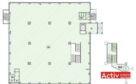 E-on Building Iași oferă spre închiriere spații birouri mici plan clădire