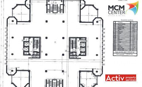 Plan etaj clădirea MCM Center oferă spre închiriere spații birouri în zona centrală Iași