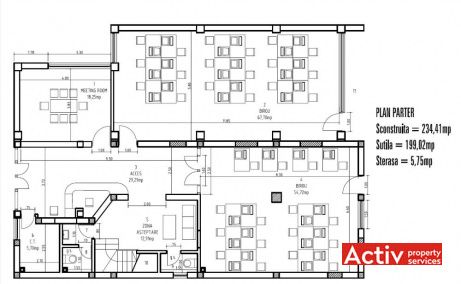 Gheorghe Titeica 144-146 plan cladire parter - spatii birouri Barbu Vacarescu in Bucuresti nord
