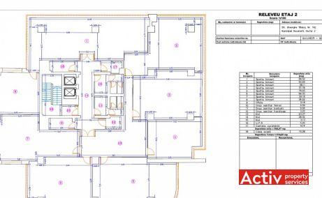 Gheorghe Titeica 142 plan cladire etaj 2 - spatii birouri Barbu Vacarescu in Bucuresti nord