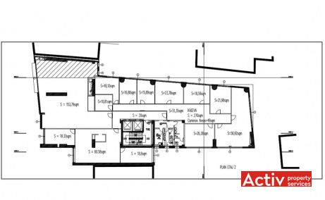 Atlantis Business Center inchiriaza spatii birouri metrou Victoriei, zona centrala, plan etaj 2
