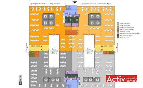 Plan etaj cu propunere layout in Sema Parc cladirea Berlin - spatii de birouri Bucuresti