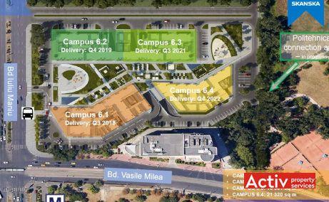 Inchirieri birouri Bucuresti langa metrou Politehnica plan general cladiri in constructie complex Campus 6