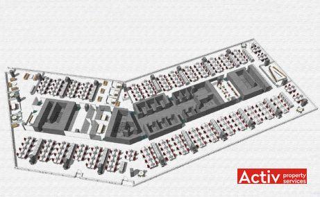Campus 6 spatii birouri Bucuresti vis-a-vis metrou Politehnica - plan etaj cu propunere layout in cladire in constructie