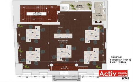 Birouri de inchiriat ultracentral Calea Mosilor plan etaj 1