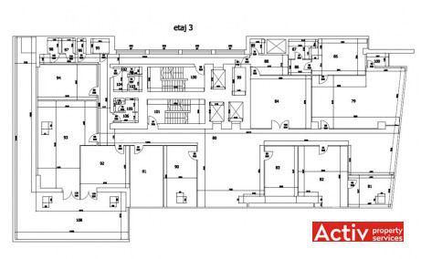 Mecano Center închirieri spații de birouri ultracentral Piața Romană plan clădire