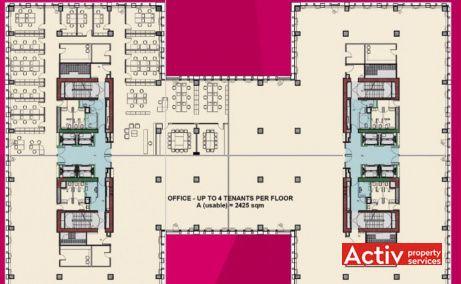 Timpuri Noi Square inchiriere spatii de birouri central Bucuresti, plan cladirea 3