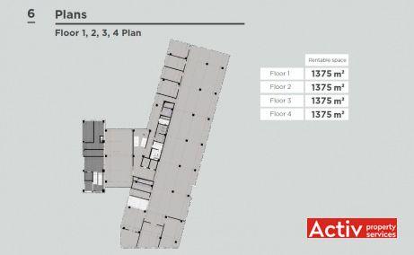 Advancity Business Center spatii de birouri de inchiriat Cluj-Napoca zona centrala imagine plan etaj curent