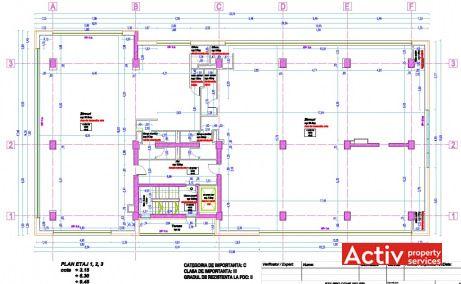 Expozitiei 101 birouri de inchiriat Bucuresti zona de nord plan etaj curent