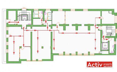 Pitar Mos 6 inchiriere spatii de birouri Bucuresti central plan etaj curent