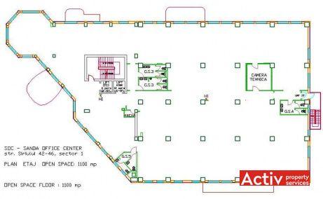 Hundertwasser House spatii de birouri de inchiriat Bucuresti nord plan etaj curent