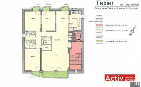 Jean Texier 3 inchiriere spatii de birouri Bucuresti zona de nord plan etaj curent