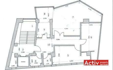 Sirenelor 91 birouri de inchiriat Bucuresti zona centrala plan etaj curent