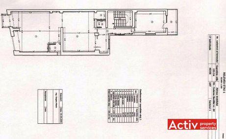 Caderea Bastiliei 64 birouri de inchiriat Bucuresti central plan etaj curent