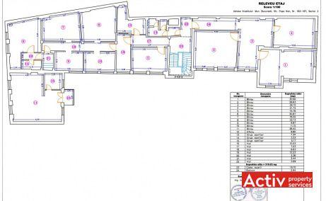 Popa Nan 183-187 birouri de inchiriat Bucuresti central plan etaj curent