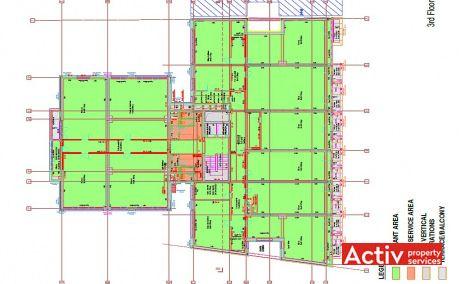 Eminescu Office birouri de inchiriat Bucuresti central plan etaj curent