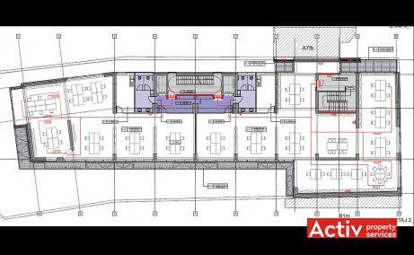 Mendeleev 5 birouri de inchiriat Bucuresti central plan etaj curent