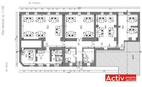 Deva 1 birouri de inchiriat Cluj-Napoca central plan demisol