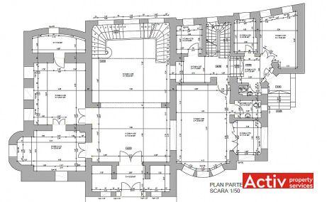 Pitar Mos 12A cladire de birouri de inchiriat Bucuresti central plan parter