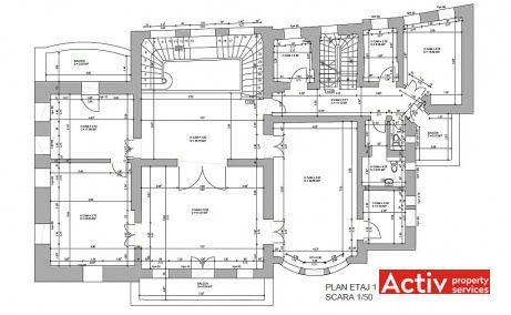 Pitar Mos 12A birouri de inchiriat Bucuresti central plan etaj 1