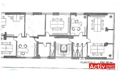 Grigore Mora 11 inchiriere birouri Bucuresti zona de nord plan etaj curent