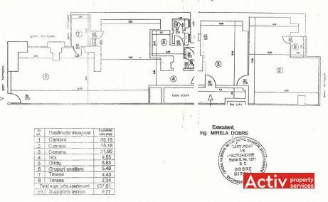 Polona 43 birouri de inchiriat Bucuresti central plan etaj