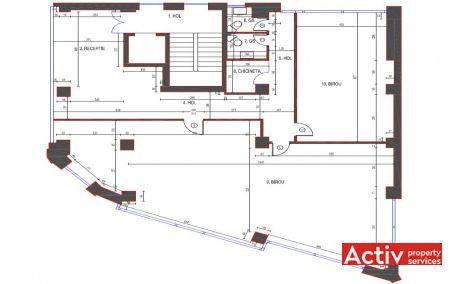 Nicolae Titulescu 56 birouri de inchiriat Bucuresti central plan etaj curent