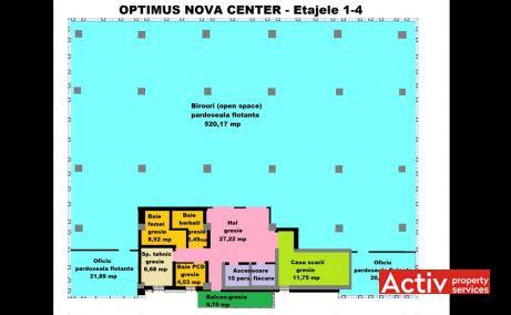 Optimus Nova Center birouri de inchiriat Cluj-Napoca zona de vest plan