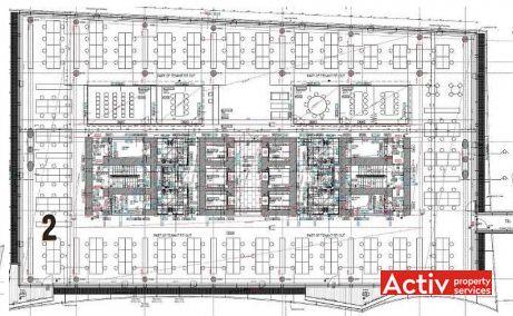 City Rose Park inchirieri spatii birouri Bucuresti nord plan etaj curent