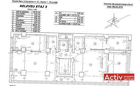 Banu Antonache 51 spatii de birouri Bucuresti nord imagine plan etaj