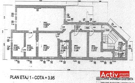 Constantin Noica 159 spatii de birouri de inchiriat Bucuresti central plan etaj