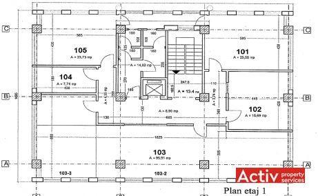 Matac 33-35 spatii de birouri de inchiriat Bucuresti nord plan etaj