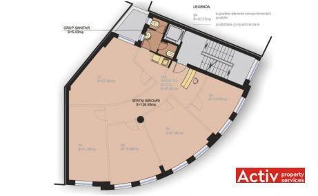 Calderon 57 spatii de birouri Bucuresti central plan etaj